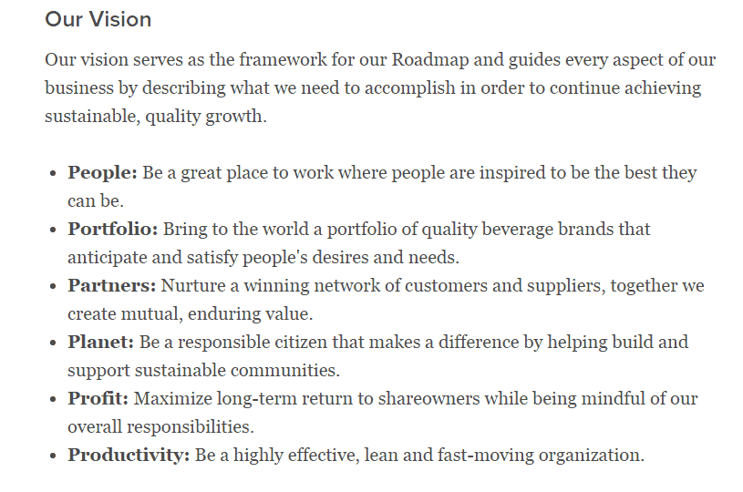 Coca Cola's Vision Statement