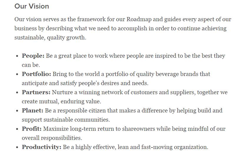 Coca Cola's Vision Statement